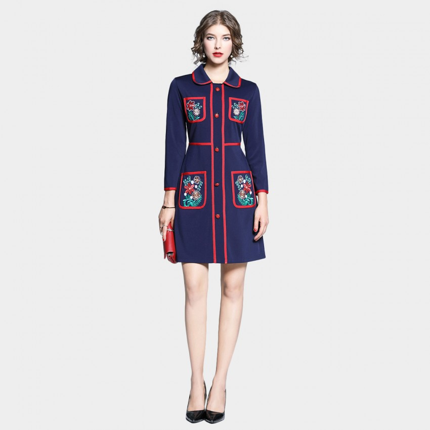 Buy Tina Red Botany Collared Navy Dress online, shop Tina with free shipping