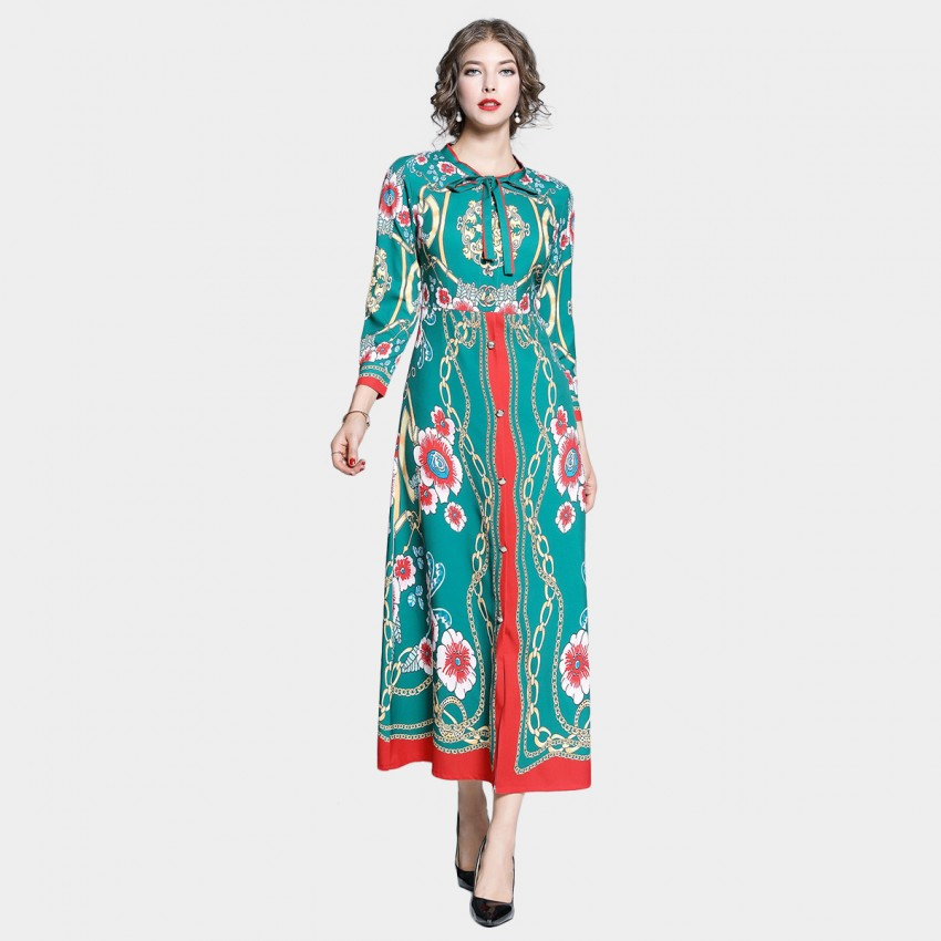Buy Tina Chains and Floral Long Sleeved Green Dress online, shop Tina with free shipping