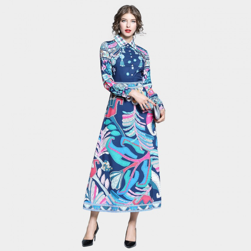 Tina Geomatric Shapes Long Sleeved Blue Dress (6822)