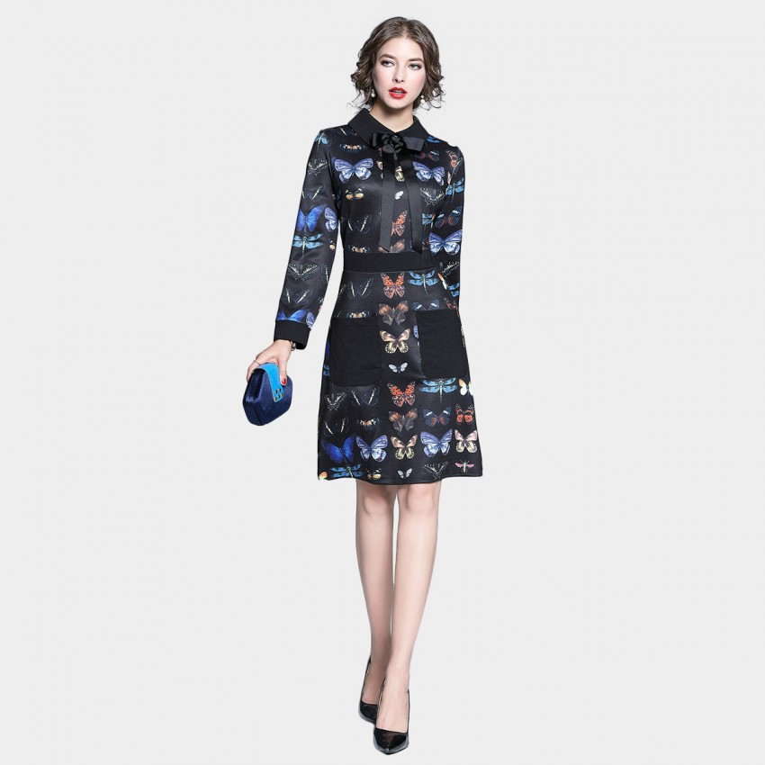Buy Tina Butterfly Print Bowtie Collar Black Dress online, shop Tina with free shipping