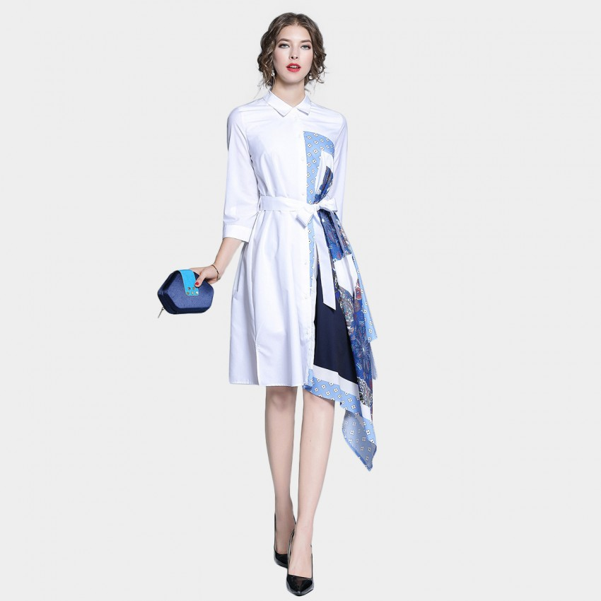 Buy Tina Asymmetry Blues Collared White Dress online, shop Tina with free shipping
