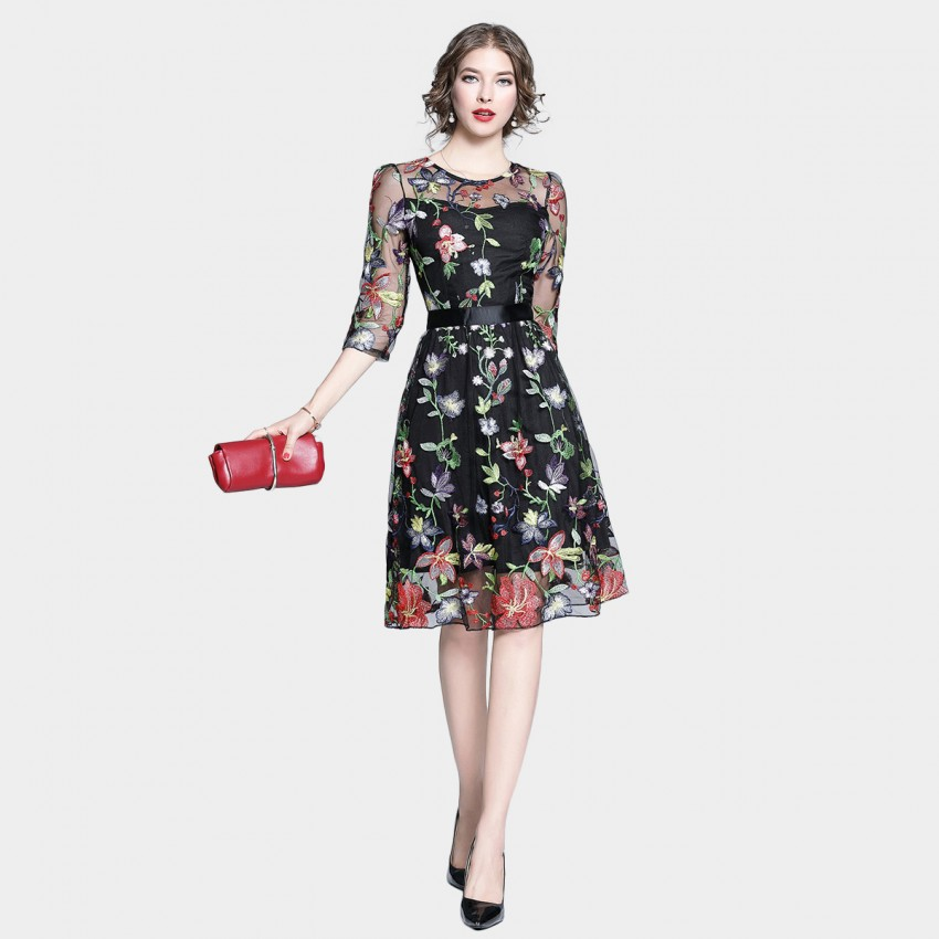 Buy Tina Sheer Vined Floral Overlay Black Dress online, shop Tina with free shipping