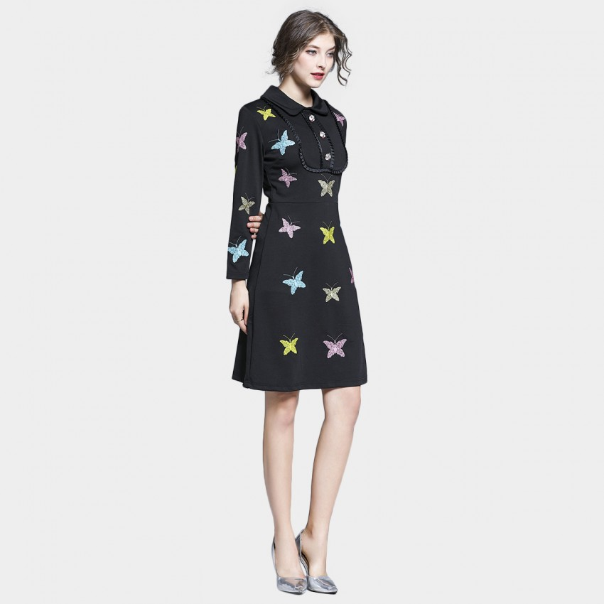 Buy Tina Solid Coloured Butterfly Long Sleeved Black Dress online, shop Tina with free shipping