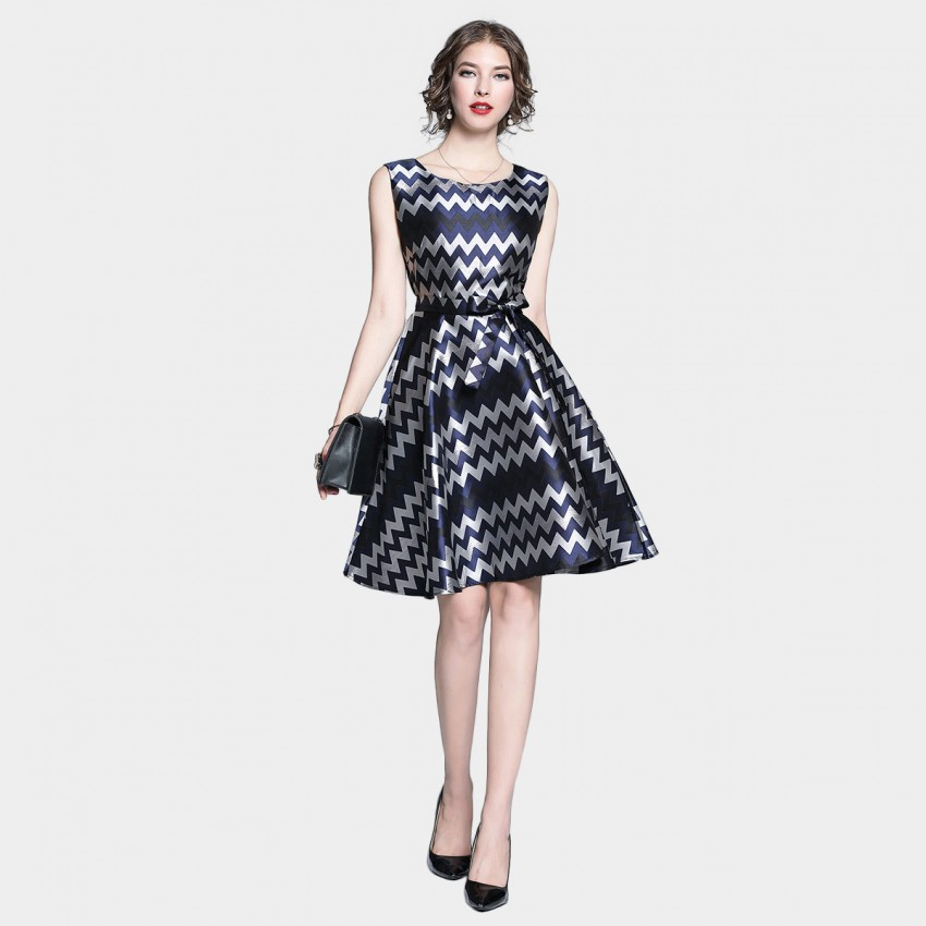 Buy Tina Seratted Zig Zag Waist Tie Navy Dress online, shop Tina with free shipping