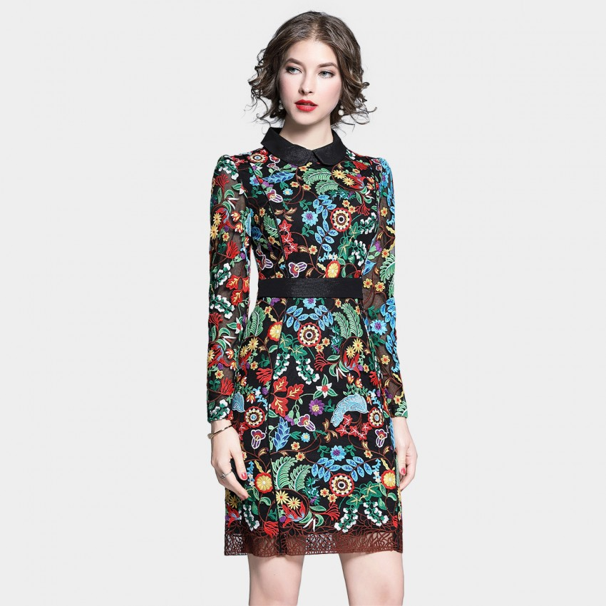 Buy Tina Botanical Explosion Long Sleeved Floral Dress online, shop Tina with free shipping