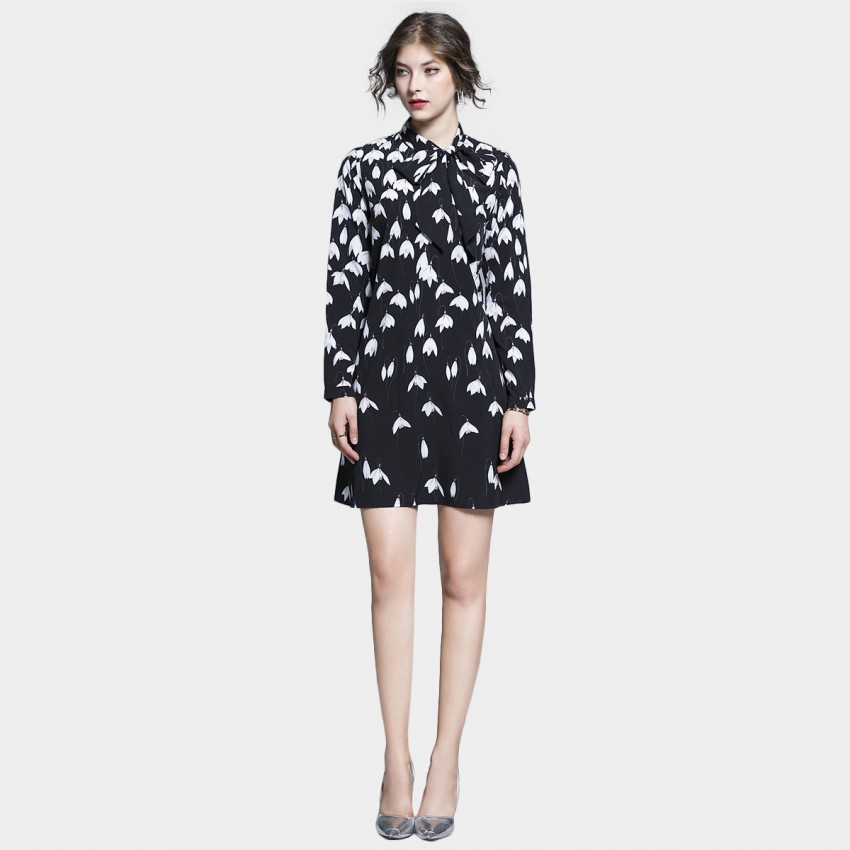 Buy Tina Bell Flower Flowy Long Sleeved Black Dress online, shop Tina with free shipping