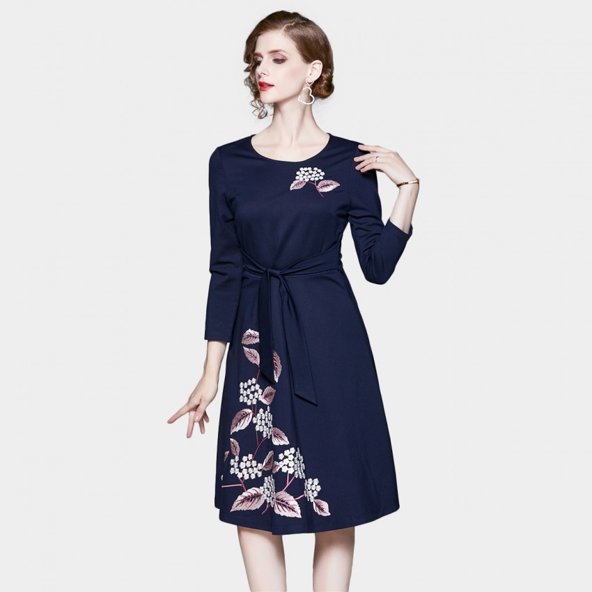 Buy Tina Delicate Wildflower Waist Tie Navy Dress online, shop Tina with free shipping