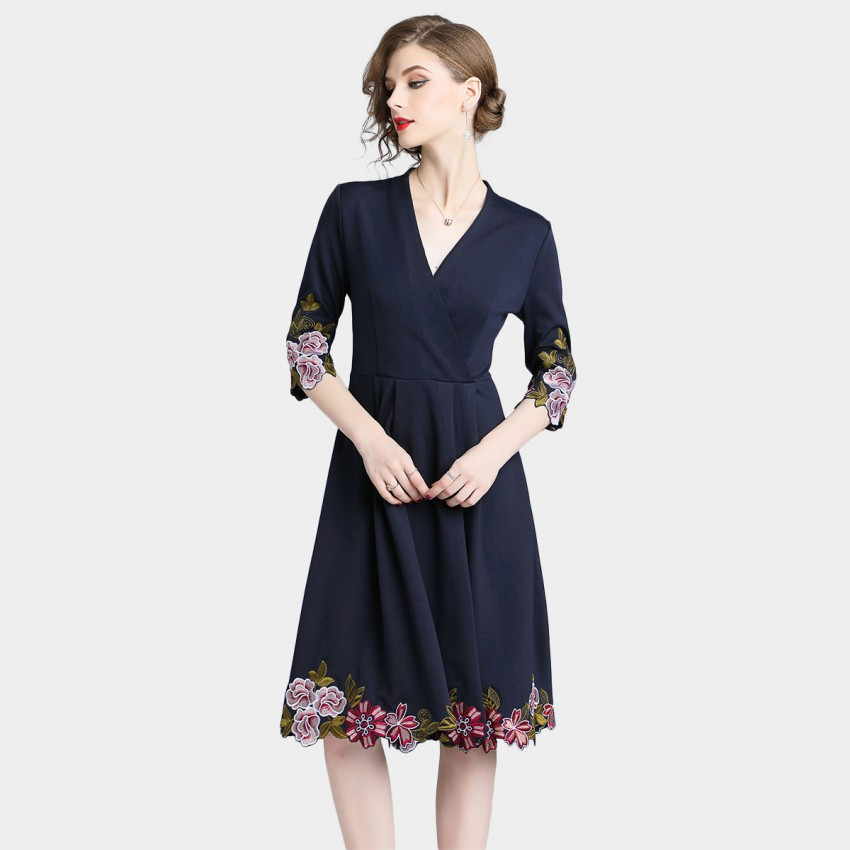 Buy Tina Floral Touch Plunge V Neck Navy Dress online, shop Tina with free shipping