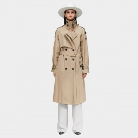 Jazzevar High Neck Statement Buckles Beige Trench Coat (9003)