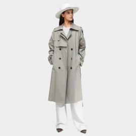 Jazzevar High Neck Statement Buckles Grey Trench Coat (9003)