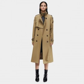 Jazzevar High Neck Statement Buckles Khaki Trench Coat (9003)