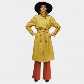 Jazzevar High Neck Statement Buckles Yellow Trench Coat (9003)