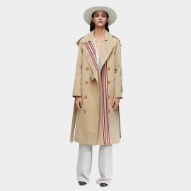 Jazzevar Double Breasted Stripe Beige Trench Coat (9004)