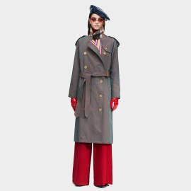 Jazzevar Double Breasted Stripe Gun Trench Coat (9004)