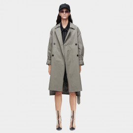 Jazzevar Classic Double Breasted Grey Trench Coat (9005)