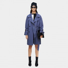 Jazzevar Lightweight Double Breasted Blue Trench Coat (9008)