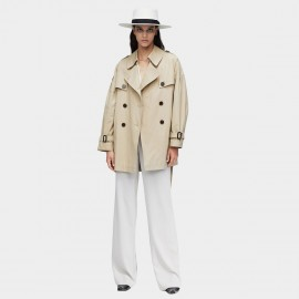 Jazzevar Oversized Short Beige Trench Coat (9010)