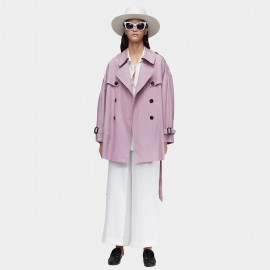 Jazzevar Oversized Short Lavendar Trench Coat (9010)