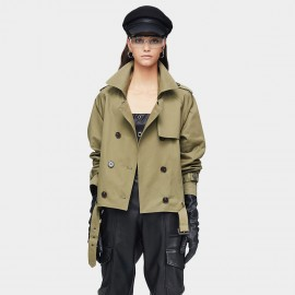 Jazzevar Double Breasted Olive Military Jacket (9018)