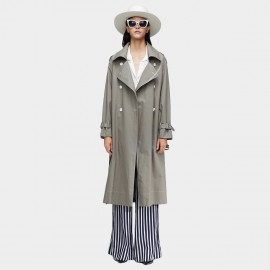 Jazzevar Contrast Stitching Grey Trench Coat (9020)