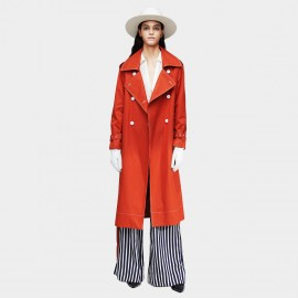Jazzevar Contrast Stitching Orange Trench Coat (9020)