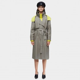 Jazzevar Pop of Colour Grey Trench Coat (9021)