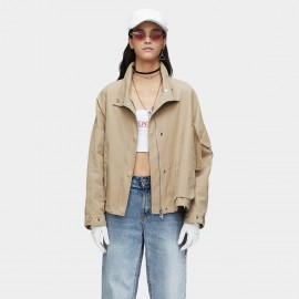 Jazzevar Drop Sleeve Camel Bomber Jacket (9023)