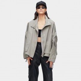 Jazzevar Drop Sleeve Grey Bomber Jacket (9023)