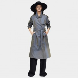 Jazzevar Statement Button Longline Gun Trench Coat (9024)
