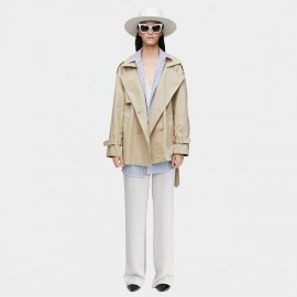 Jazzevar Cropped Cotton Beige Trench Coat (9026)