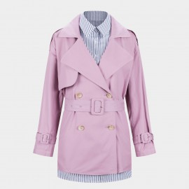 Jazzevar Cropped Cotton Lilac Trench Coat (9026)