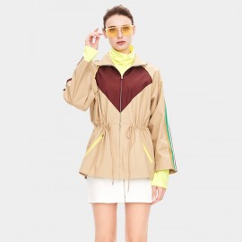 Jazzevar Hooded Camel Abstract Parka Jacket (9029)