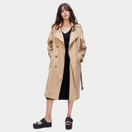 Jazzevar Contemporary Longline Camel Trench Coat (870114)