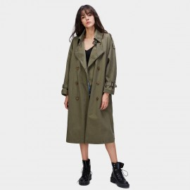 Jazzevar Contemporary Longline Olive Trench Coat (870114)