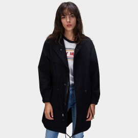 Jazzevar Drawstring Hem Black Parka Trench Coat (870121)