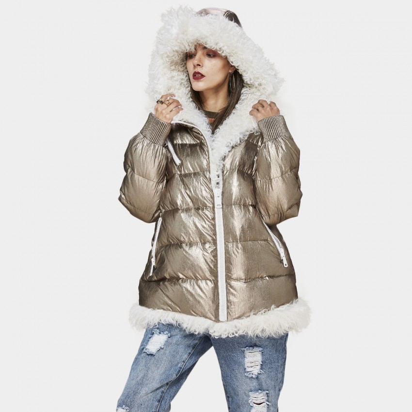 Jazzevar Fluffy Gold Down Jacket (870603)
