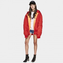 Jazzevar Oversized Red Bomber Coat (8700001)