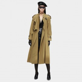 Jazzevar Military Detail Long Khaki Trench Coat (9001)