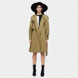 Jazzevar Military Detail Short Khaki Trench Coat (9002)