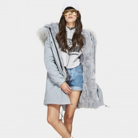Jazzevar Fur Lined Hooded Blue Coat (C1)