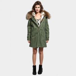 Jazzevar Oversized Fur Hood Green Coat (C2)