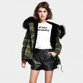 Jazzevar Black Fur Lined Camouflage Jacket (D1)