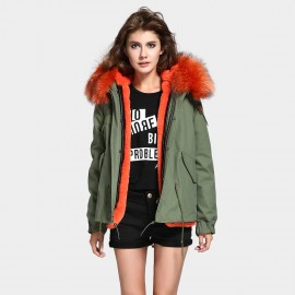 Jazzevar Orange Fur Lined Green Jacket (D2)