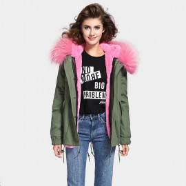 Jazzevar Pink Fur Lined Green Jacket (D3)