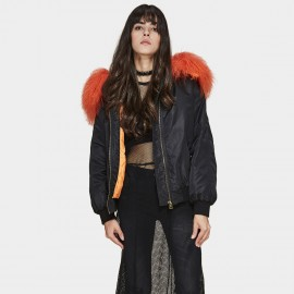 Jazzevar Orange Fur Hood Bomber Jacket (F2)