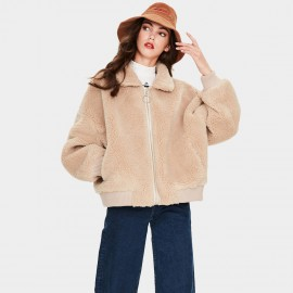 Jazzevar Beige Ribbed Teddy Jacket (K9050)