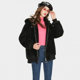 Jazzevar Black Hooded Teddy Jacket (K9051)