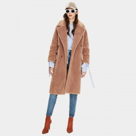 Jazzevar Double Breasted Camel Teddy Coat (K9062)