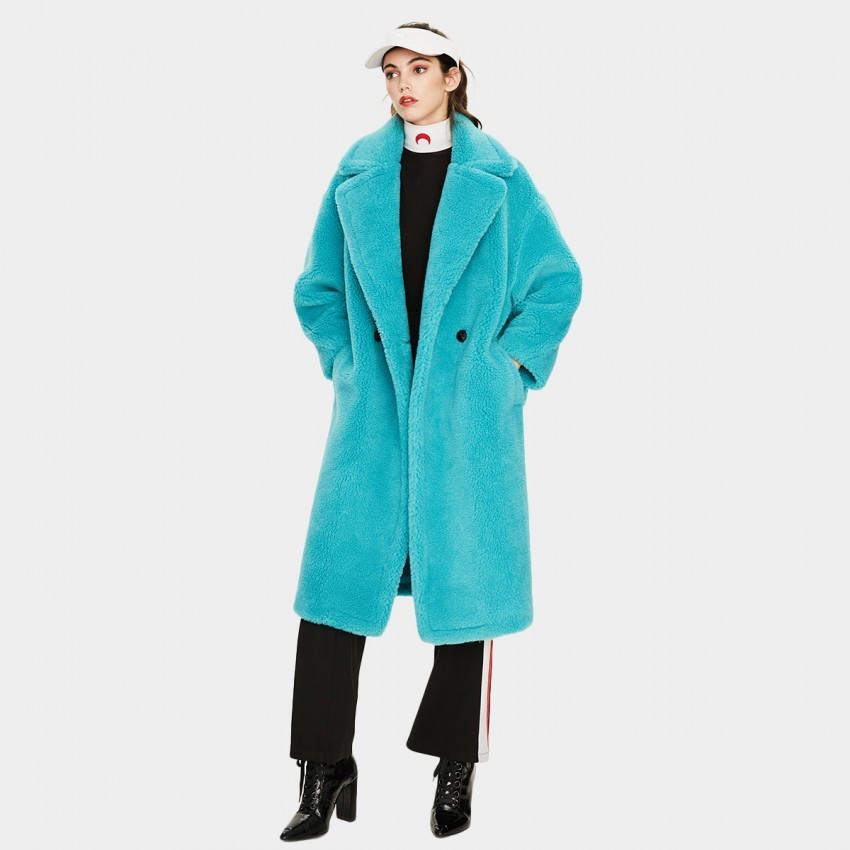 Jazzevar Longline Blue Teddy Coat (K9063)
