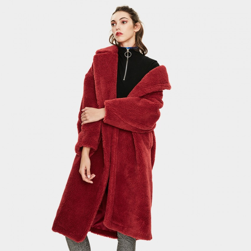 Jazzevar Longline Red Teddy Coat (K9063)